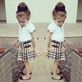 Verão elegante esportes roupa roupas meninas roupas Set ( t-shirt + saia xadrez )