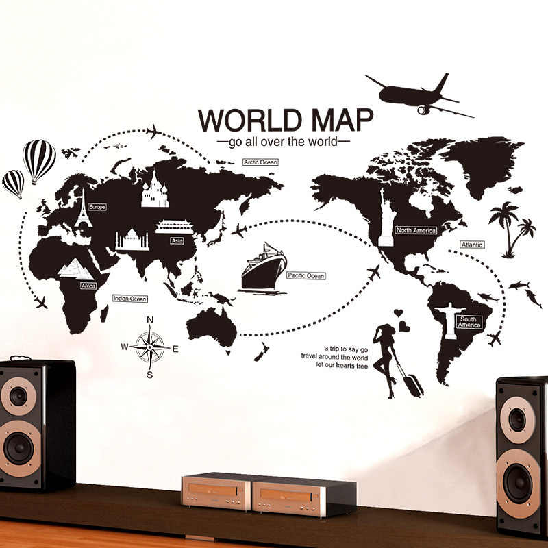 Black World Map Wall Sticker Bedroom Office Artistic Background Removable PVC Muurstickers Home Decor Kids Room Decoration