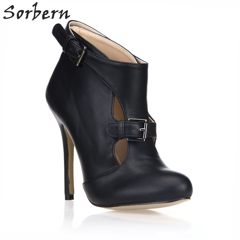 Nouveau Chaussures Color Sorbern Talons custom Cheville Coupe pu De Bottes Pour haut Personnalisé Couleurs Stilettos Noir Verni Talon Femme Noir Femmes nAgSn