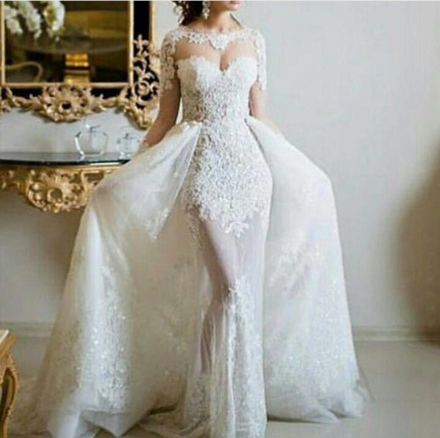 Vestido de noiva 2 em 1 Lang Mermaid Brautkleider mit abnehmbare ...