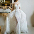 vestido de noiva 2 em 1 Long Mermaid Wedding Dresses with Detachable Skirt Lace Sweetheart Long Sleeve robe de mariee sirene B70