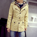 During the spring and autumn 2015 men hooded big yards long autumn cultivate one's morality men's clothing in the trench coat