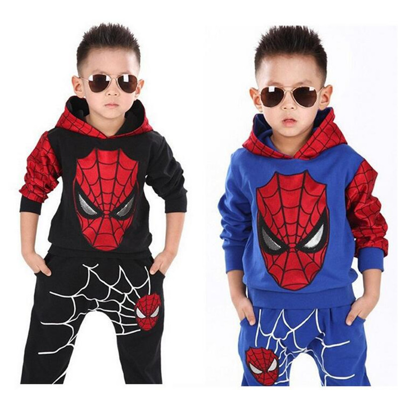 Marvel Comic Classic Spider-man Child Costume Sports suit 2 pieces set Tracksuits boys Clothing sets Coat+Pant for 2-7 years old teenage girls clothes sets camouflage kids suit fashion costume boys clothing set tracksuits for girl 6 12 years coat pants