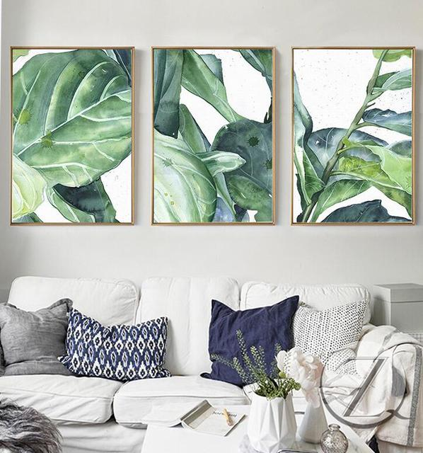 living room tree kids chairs new summer green leaves wall art set canvas palm printing for home livingroom bedroom decoration