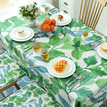 Cotton Fabric Table Cloth Green Tropical Plant Leaves Home Decoration Printed Leaf Tablecloth Cover For Living Room