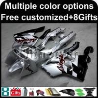 8 Hediyeler + gümüş siyah ZX6R 636 1994 1995 1996 1997 Ninja ABS motosiklet fairing Kawasaki ZX 6R 94 95 96 97