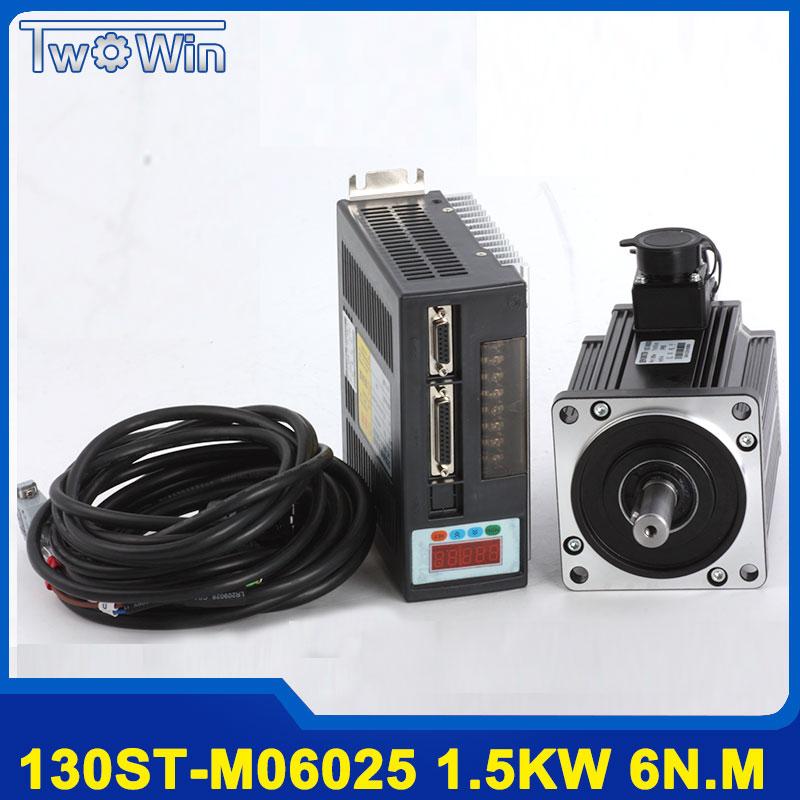 1.5KW 130ST-M06025 AC servo moteur 6N. M 1500 w + pilote avec 3 mètre Câble Complet servo système