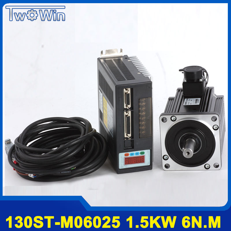 цена на 1.5KW 130ST-M06025 AC servo motor 6N.M 1500W + driver with 3 Meter Cable Complete servo system