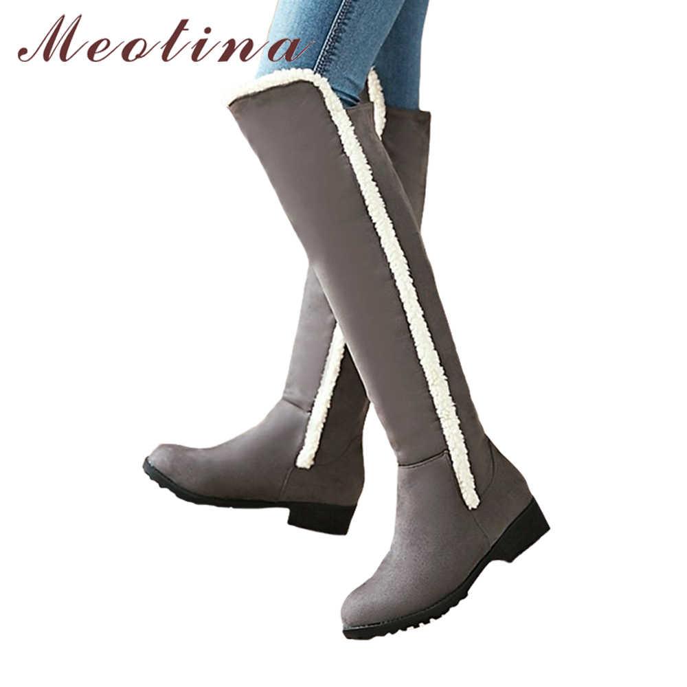 Meotina/ботфорты выше колена; женские зимние сапоги до бедра; сапоги на платформе с каймой; теплая плюшевая обувь с высоким голенищем; цвет серый, черный; размеры 34-44