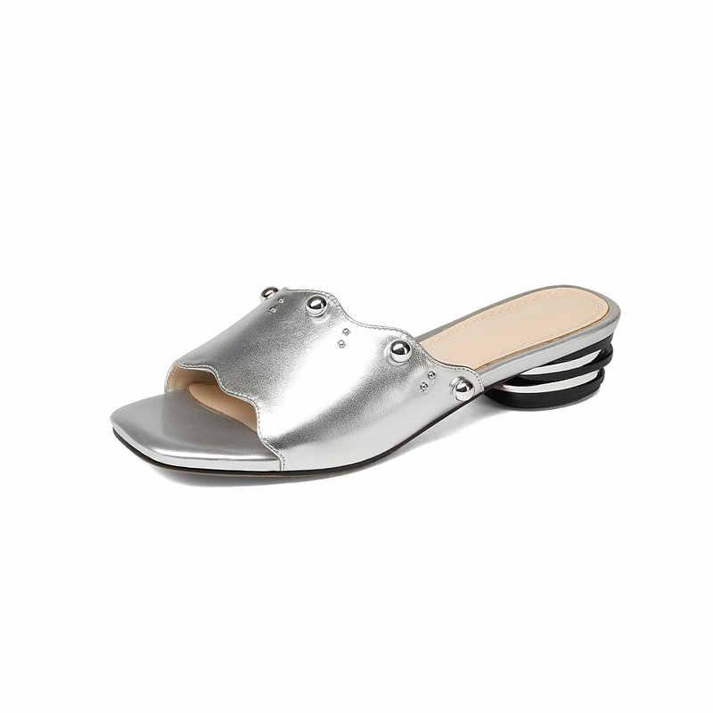 Talon bas pantoufle femelle rivets diapositives Mules chaussures de haute qualité en cuir véritable été sandales femme bleu argent taille 33 34 42 43