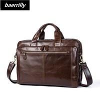 Crazy Horse Genuine Leather Briefcases Laptop Handbag Men S Business Crossbody Bag Retro Casual Messenger Shoulder