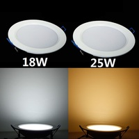 50pcs 18W 25W Dimmable LED Ceiling Light AC85 265V Cool Warm White Ultra Thin Recessed Panel