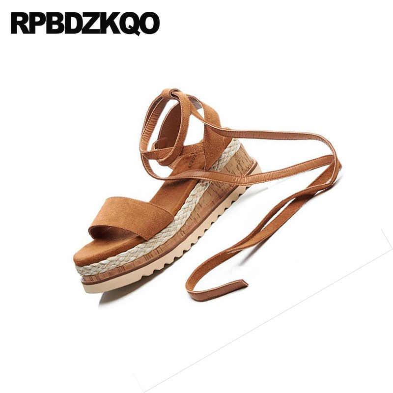 742d03383151 ... Women Platform Espadrilles Pumps Shoes Orange Wedge Ladies Strap Up  Sandals Rope Genuine Leather Strappy Flatform ...
