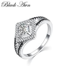 [BLACK AWN]女性用純正100%925スターリングシルバーエンゲージリングジュエリーブラック&ホワイトストーンファムリングC225