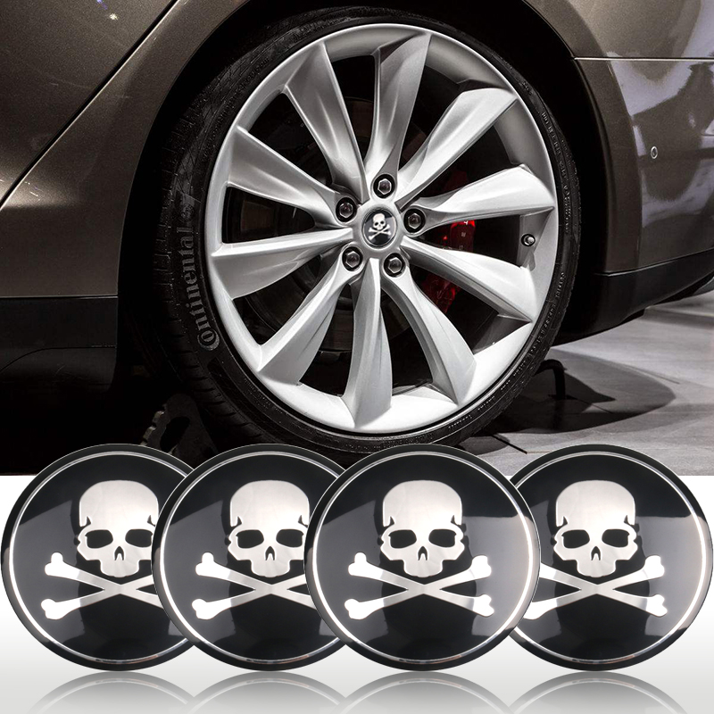 4pcs Car Motorcycle 56mm 65mm 3D Punisher Skull Universal Steering Wheel Center Hub Cap Emblem Badge Stickers For Jaguar Hubcap Стикер