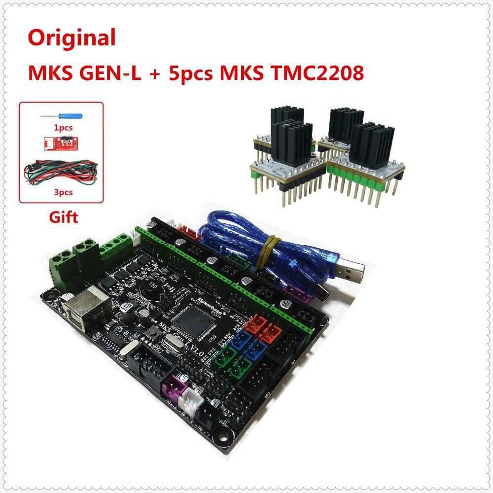 MKS GEN L + 5 pcs MKS TMC2208 moteur pas à pas pilote 3D imprimante bouclier panneau de commande carte mère diy starter kit