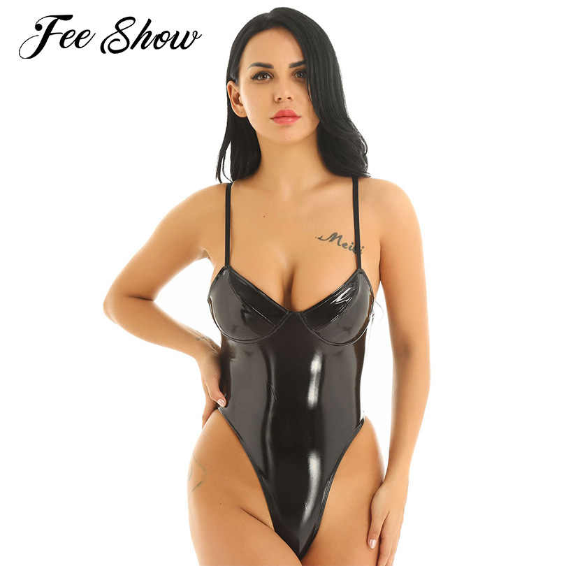 Hot Womens Latex Bodysuit Catsuit Sexy Clubwear Nachtkleding Wetlook Hoge Cut String Latex Lingerie Bodysuit Leer Erotische Kostuums