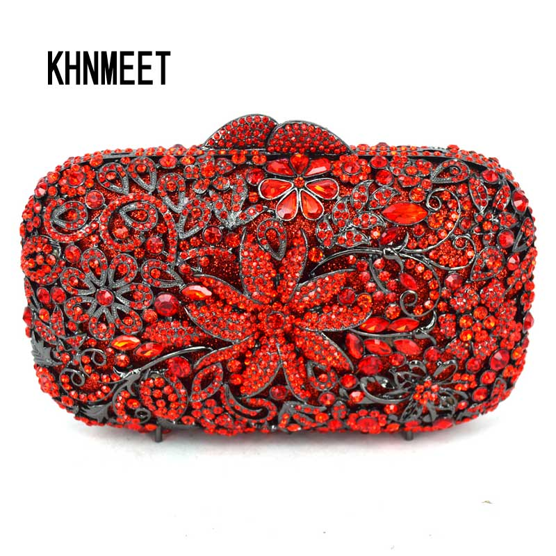 Newest Flower Crystal Diamond Evening Clutches Bag Wedding Party Prom banquet Clutch Bag Purse pochette for soiree Handbag SC524 yu19 1 crystal evening bag clutch peacock diamond pochette soiree women evening handbag wedding party purse clutch bag