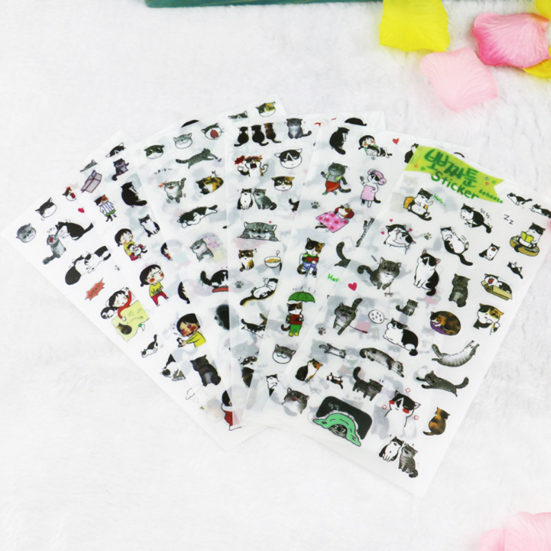 Купить с кэшбэком 6Pcs/lot Cute cat Decorative Stickers Transparent Pet New Phone Stickers Diary Stickers Scrapbook Paper Toy Stickers stationery
