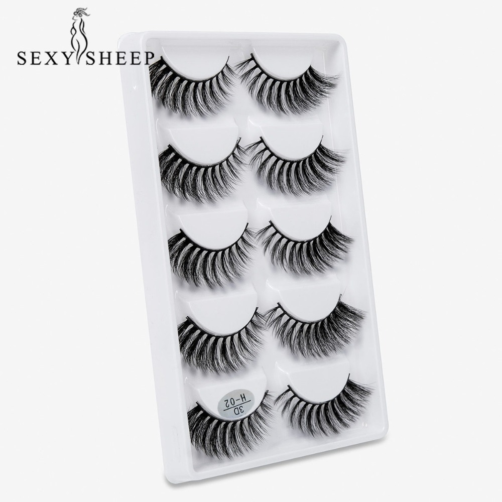 3D False Eyelashes Set 5 Pairs Thick Fake Lashes 100% Hademade Eyelash Extensions Wispy Cross Lahes More Styles For Eye Makeup