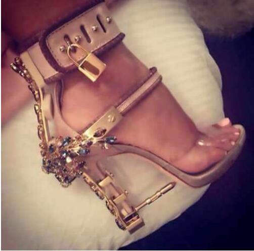 92efde4a562e Fashion Design Spiked High Heeled Peep Toe Women Sandals Boots Wine  Strapless Rhinestone Lock Summer Shoes Woman High Quality
