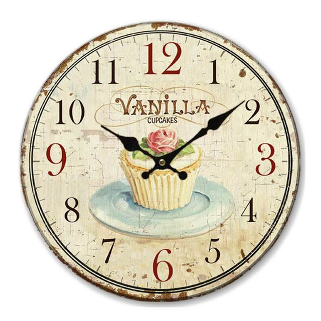 Floral Wall Clock Vintage Shabby Chic Pastel Style 34cm Wall Clock Home  Bedroom Retro Kitchen Quartz