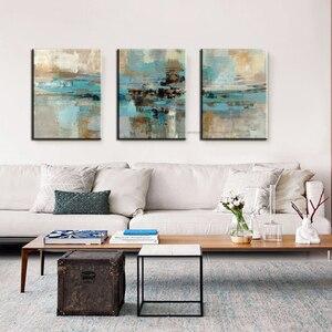 Image 4 - 3 stuk olieverfschilderijen op canvas turquoise schilderijen decoratieve muur schilderen canvas pictures voor woonkamer moderne abstracte kunst