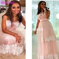 Famous Light Pink Lace Arabic Celebrity Dresses 2016 New Fashion Strapless Bow Myriam Fares Dresses Saudi Arabia Evening Dress