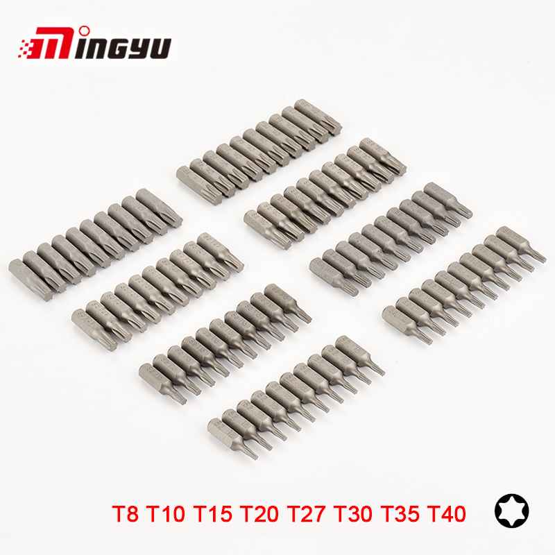 Tools 10pcs S2 Alloy Steel 25mm Long Torx Screwdriver Bits Set 1/4 Hex Shank T8 T10 T15 T20 T27 T30 T35 T40 Screw Driver Bits Relieving Rheumatism And Cold