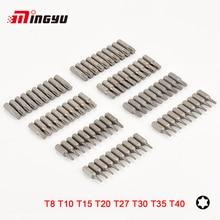 10pcs S2 Alloy Steel 25mm Long Torx Screwdriver Bits Set 1/4