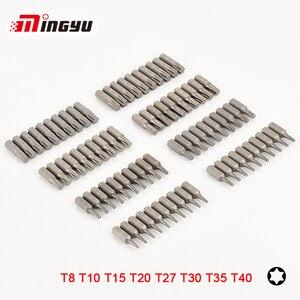 "10pcs S2 Alloy Steel 25mm Long Torx Screwdriver Bits Set 1/4"" Hex Shank T8 T10 T15 T20 T27 T30 T35 T40 Screw Driver Bits(China)"