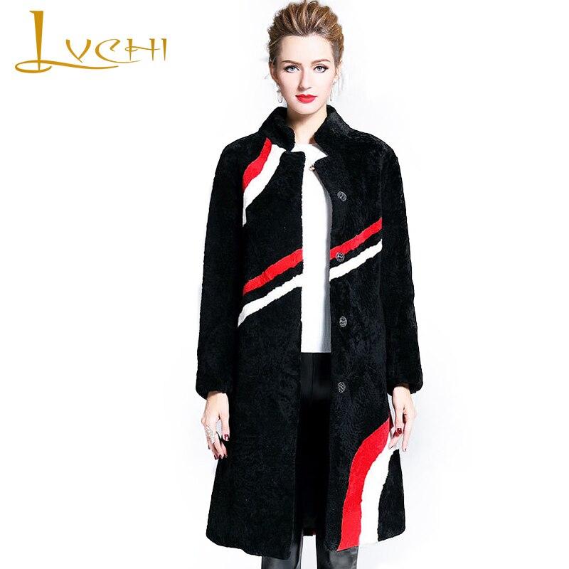 LVCHI hiver 2019 manteau de fourrure d'agneau véritable lignes géométriques vraie laine naturelle manteaux de fourrure femmes x-long laine Slim col mandarine manteaux