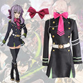 Anime Seraph Of The End Hiiragi Shinoa Cosplay Costume Uniform Dress Animation Clothing Dress+Tie+Belt+Strap+Hair Accessory