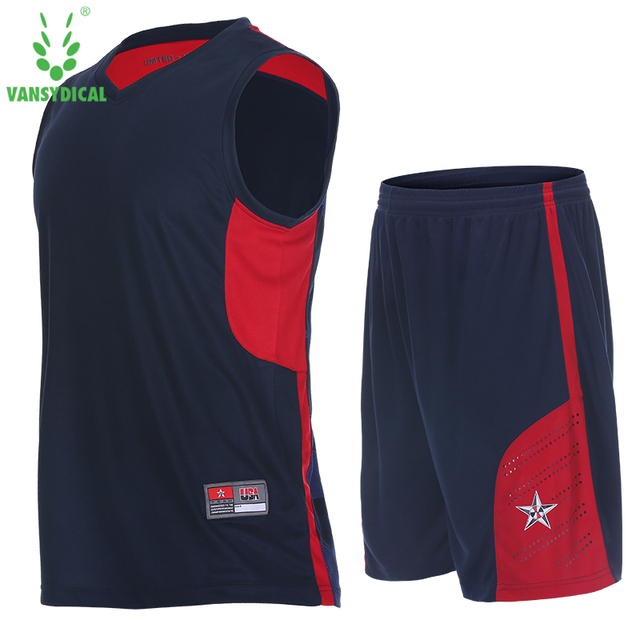 VANSYDICAL Men Basketball Uniforms Jerseys Sports Sportswear Training Basketball Sets Shirt Quick Dry Vest Sleeveless Shorts