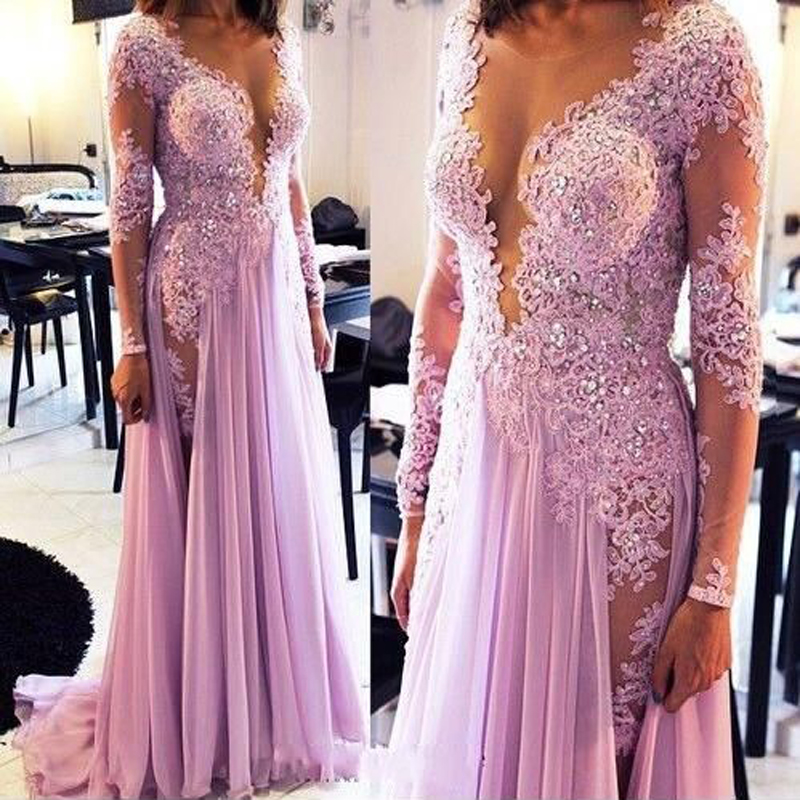 Incroyable violet manches longues au sol longueur profonde col en V transparent robes de bal longues femmes bal de promo Maxi robes robe tapis rouge