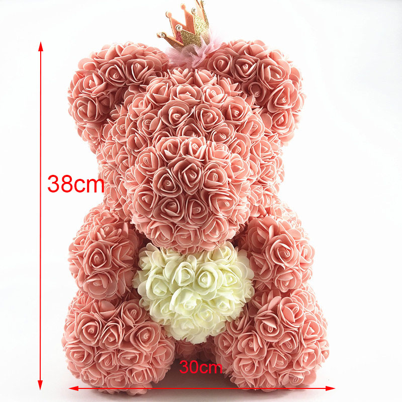 Valentines Day Gift foam Rose Bear Artificial Flower Love Bear for Girlfriend Anniversary New  (2)