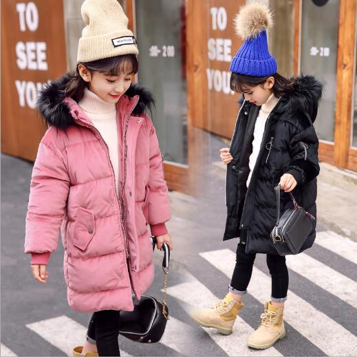 Girl Gold velvet Jackets For Cold Winter Children Warm Hooded Girls Fur Collar Outerwear & Coats a15 girls jackets winter 2017 long warm duck down jacket for girl children outerwear jacket coats big girl clothes 10 12 14 year
