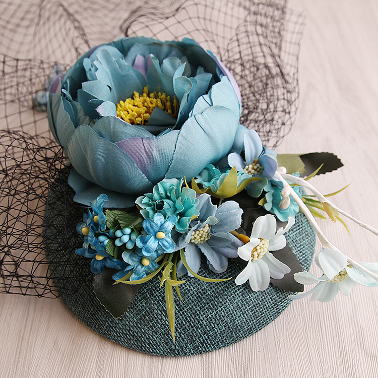 New Design Turquoise Sinamay Base Fabric Flower Linen Fascinator Wedding Veil Top Hat Bride Party SHow Fashion Sinamay Hair Clip худи print bar new year gta v