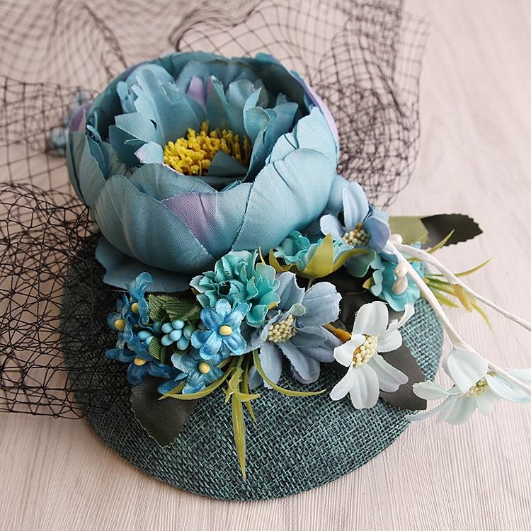 nuevo diseo de la turquesa sinamay base de tela de lino de flores velo de novia