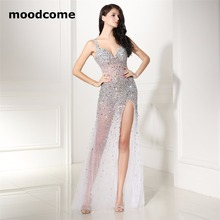 2018 Sexy Cut-out Evening Dresses Scoop Mermaid Side Split Tulle Beading Sequins Crystal Cheap Plus Size Formal Prom Gowns