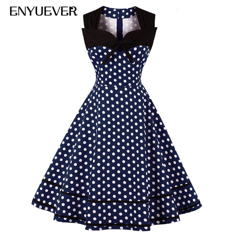 8f77ff71142f51 Enyuever Plus Größe Polka Dot Kleid Frauen 4XL Sleeveless Beiläufige Pin Up  Patchwork Vestido Vintage Robe Rockabilly Kleid Sommerkleid