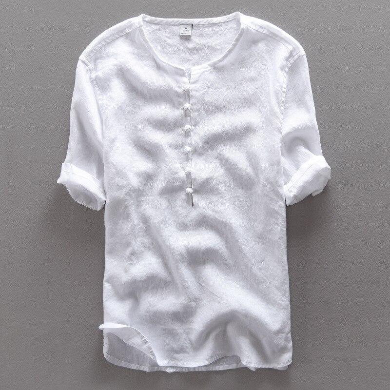 Estilo chino moda simple camisa de lino puro de los hombres de marca - Ropa de hombre