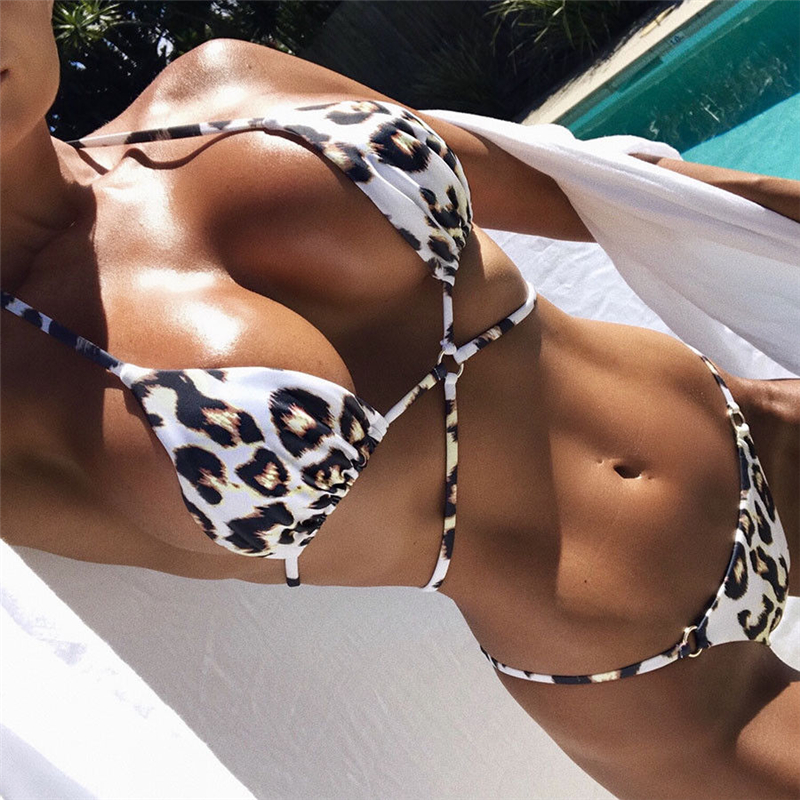 Sexy Leopard Printed Micro Bikini Set Women Push-Up Bandage Padded Bra Swimsuit Beachwear Swimwear Bathing Suits