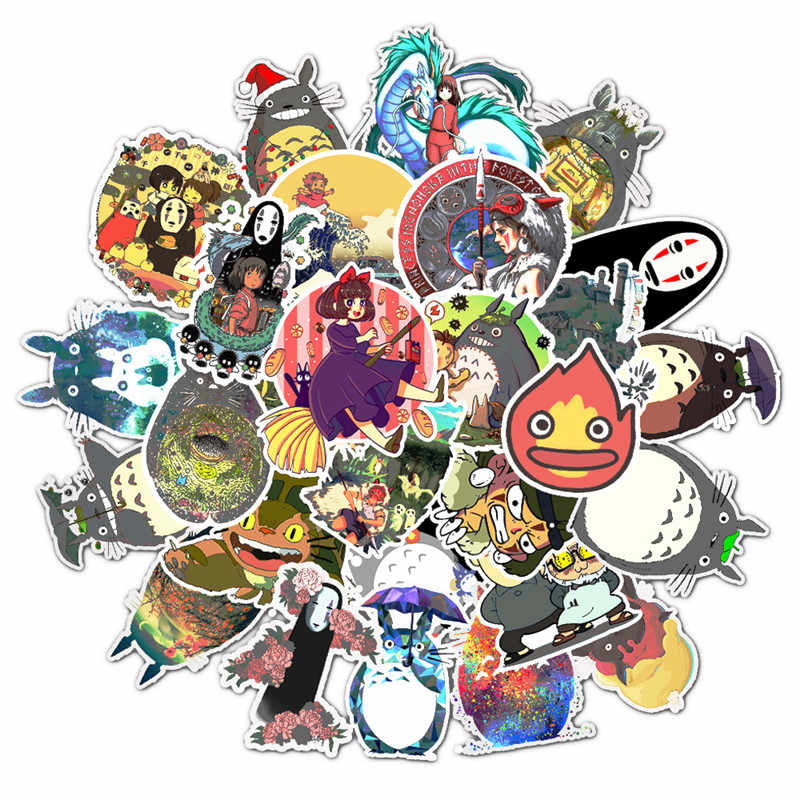 50pcs Mixed Cartoon Stickers Hayao Miyazaki Anime Sticker for Children To Laptop Suitcase Guitar Fridge Bicycle Car