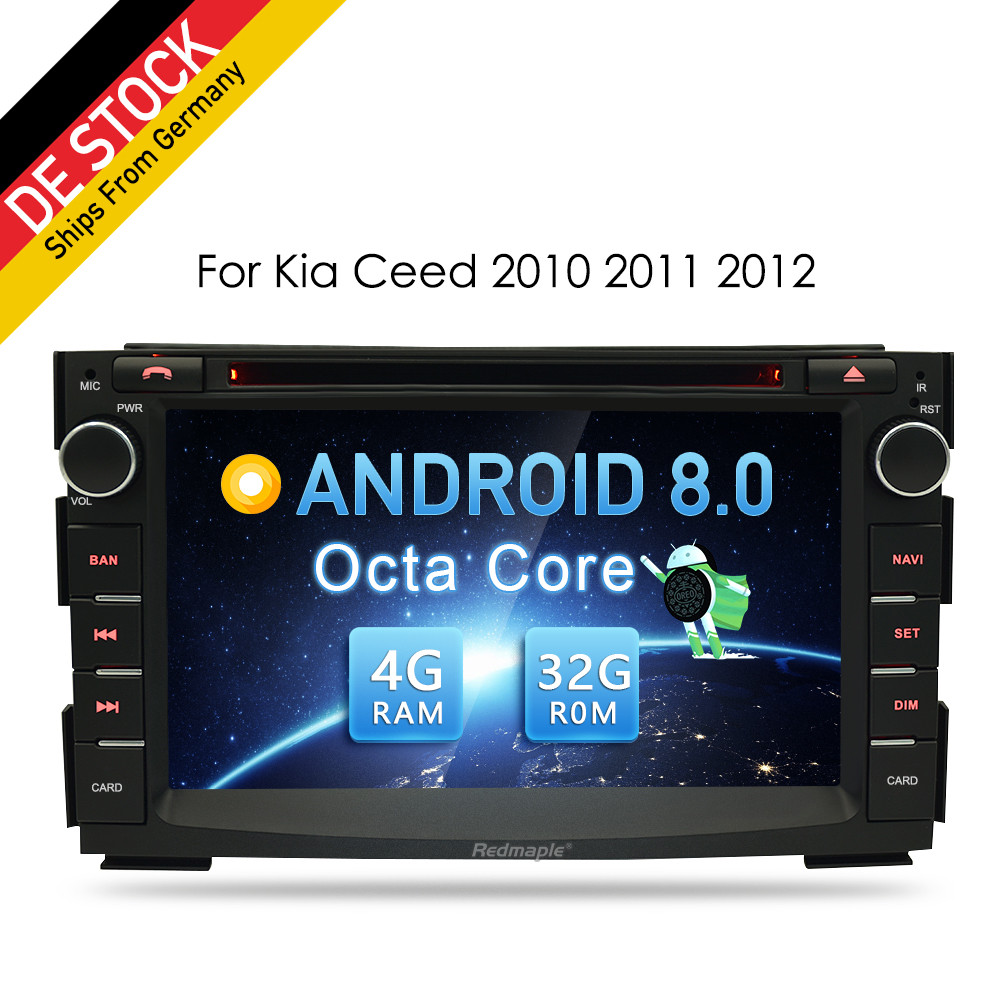 4G RAM Android 8.0 Car Video Multimedia Player Audio Stereo Radio For Kia Ceed 2010/2011/2012 WiFi RDS DVD 2 Din GPS Navigation цена