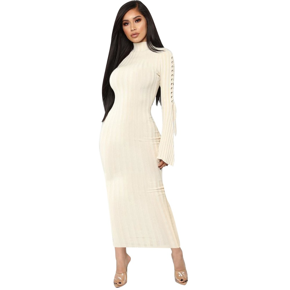 46ae75e140d4 Gromment Knitted Rib Women Dress Casual Long Flare Sleeve Lace Up bandage Maxi  Dress Women Night