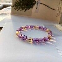 Top Quality Natural Purple Yellow Ametrine Crystal Oval Cut Round Beads Bracelet 9x7mm Brazil Woman Man AAAAA Drop Shipping