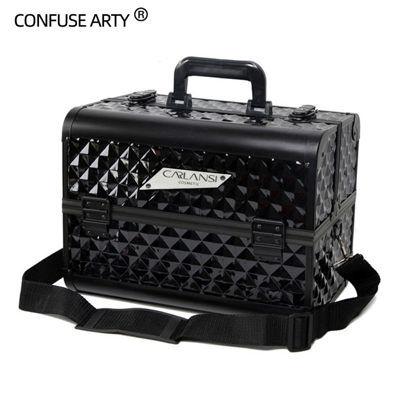 Aluminum alloy High capacity multifunctional portable cosmetic bag professional portable cosmetic case makeup collection box