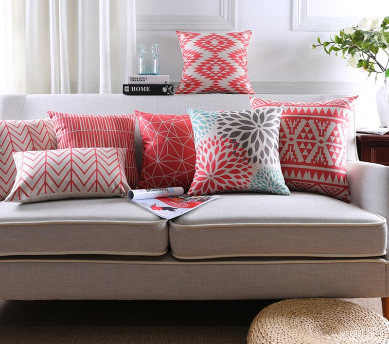 Cuscini Divano Rossi.New Coral Red Geometric Style Printed Linen Cotton Cushion Cover