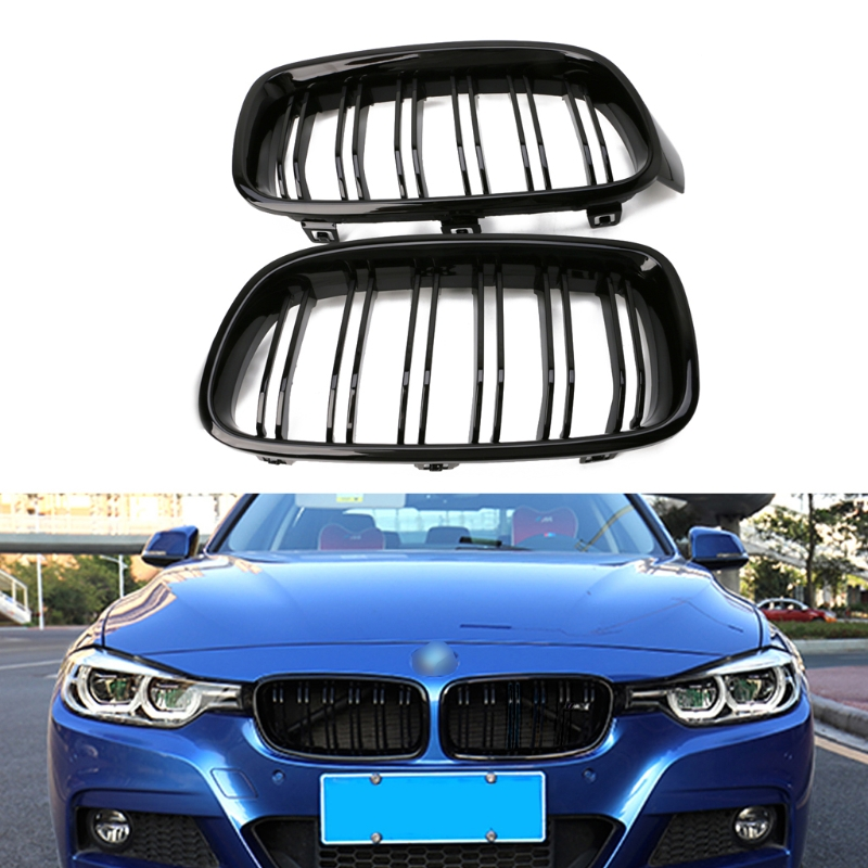 1Pair Gloss Black Front Grille Kidney Mesh Radiator Grille Accessories For BMW 3 Series F30 F31 F35 2012 2016 NEW